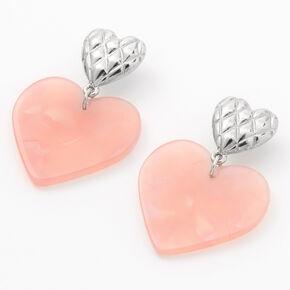 Pendantes cœur matelassées 4cm couleur argentée - Rose,
