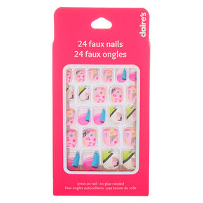 Geometric Retro Square Press On Faux Nail Set - 24 Pack,
