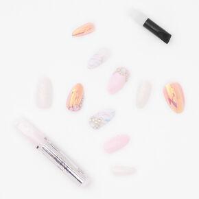 Faux ongles stiletto luxueux avec strass opalescents effet marbré - Blanc, lot de 24,