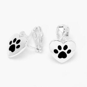Silver Paw Print Clip On Drop Earrings,