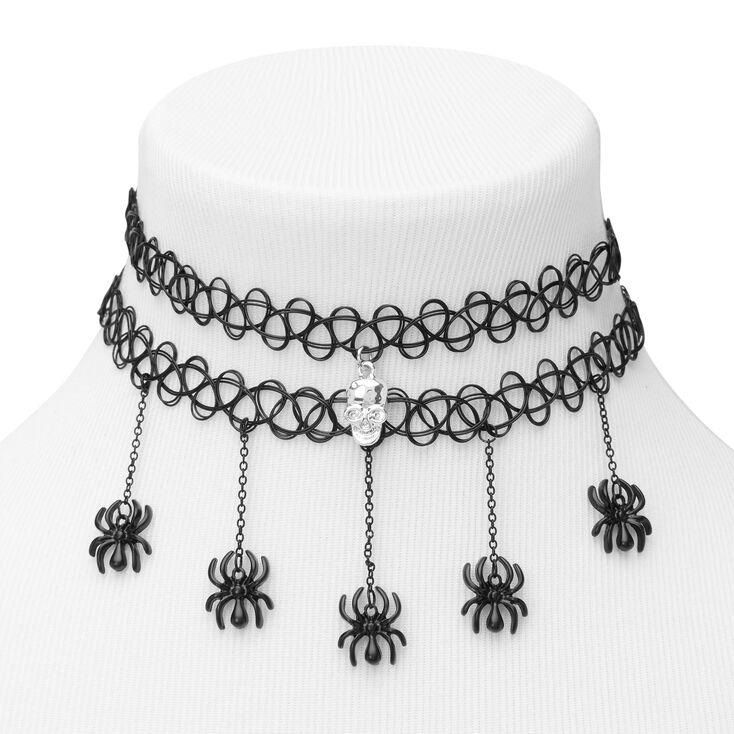 Skull Spider Tattoo Choker Necklaces - Black, 2 Pack,