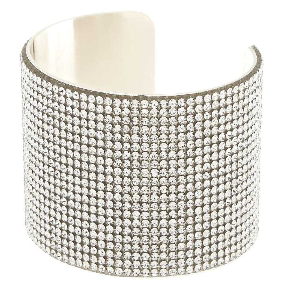 Large Couleur Manchette Bracelet Avec En Argenté Strass Verre wkNPX8n0ZO