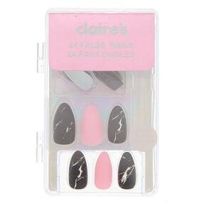 Marble Stiletto Faux Nail Set - Black,
