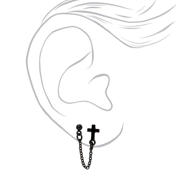 Black Cross Connector Chain Stud Earrings,