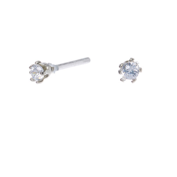 Claire's - cubic zirconia 2mm round stud earrings, small - 1