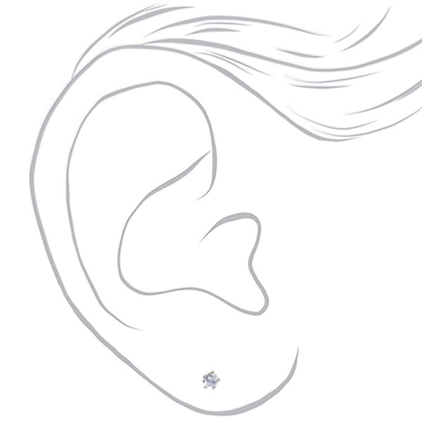 Claire's - cubic zirconia 2mm round stud earrings, small - 2