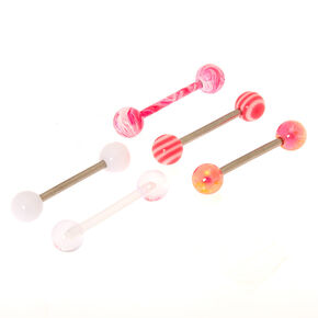Lot de 5 jolis piercings de langue spirale roses,