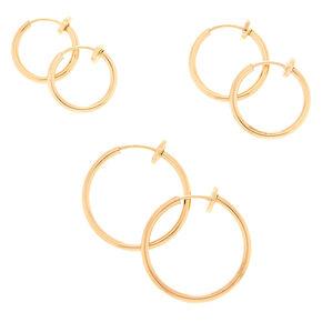 Gold Graduated Spring Clip Hoop Earrings - 3 Pack,