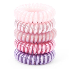 Pearlized Pinks Spiral Hair Ties - 5 Pack,