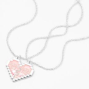 Colliers à pendentif cœur fendu jeu vidéo phosphorescents best friends - Lot de 2,
