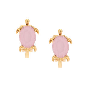 Gold Turtle Stone Clip On Earrings - Pink,