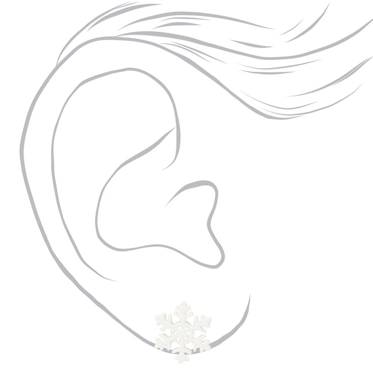 Winter Snowflake Stud Earrings - White,