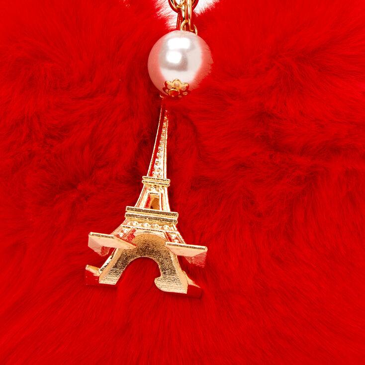 Furry Red Heart Eiffel Tower Keychain,