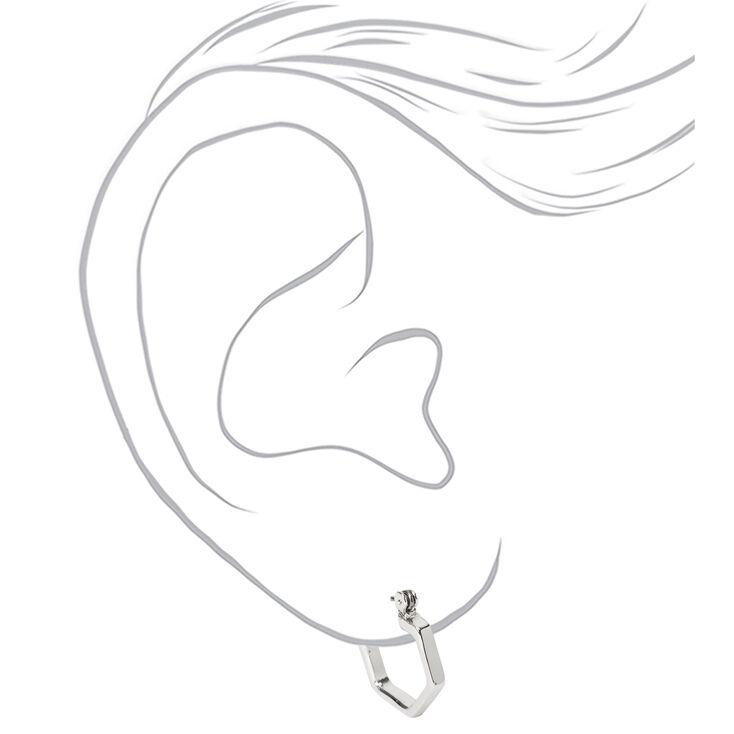 Silver 15MM Hexagon Hinge Hoop Earrings,