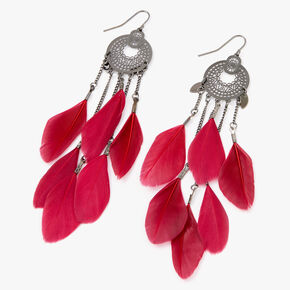 "Hematite 4.5"" Filigree Medallion Feather Drop Earrings - Red,"