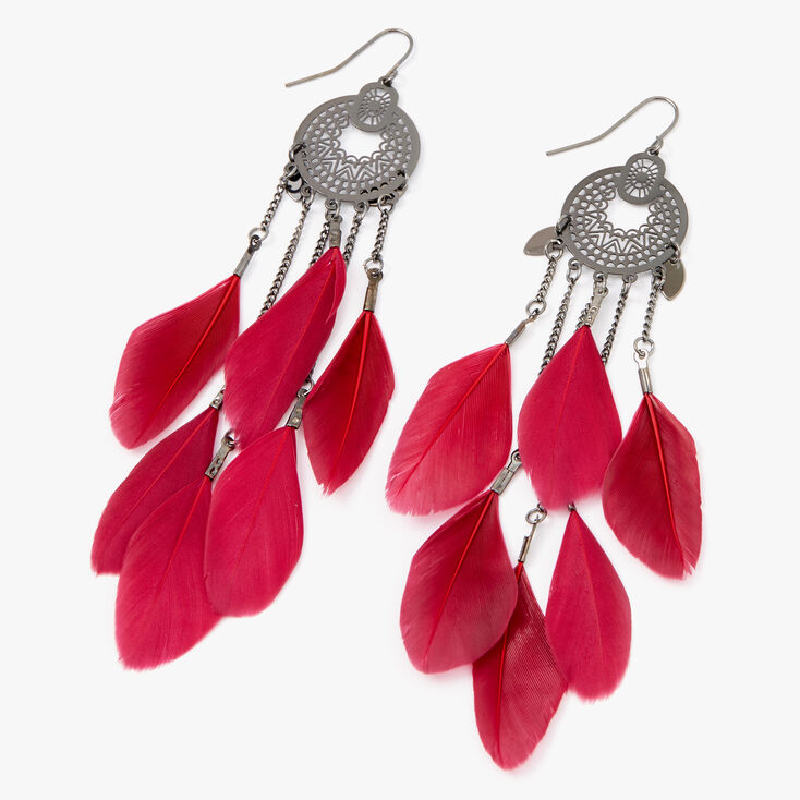 "Hematite 4.5"" Filigree Medallion Feather Drop Earrings - Red,"