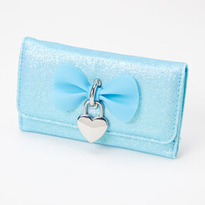 Glitter Bow Heart Charm Wallet - Mint,