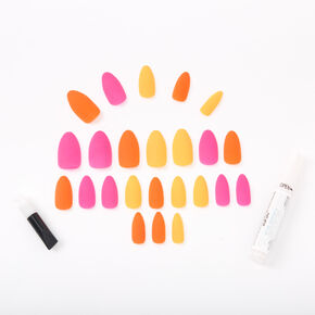Neon Matte Sunset Stiletto Faux Nail Set - 24 Pack,