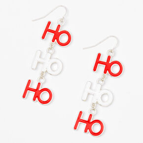 "Silver 2"" Ho Ho Ho Drop Earrings,"