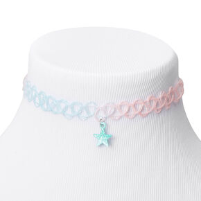 Claire's Club Blue & Pink Glitter Star Tattoo Choker Necklace,