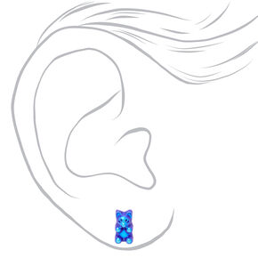 Holographic Gummy Bear Stud Earrings - 6 Pack,