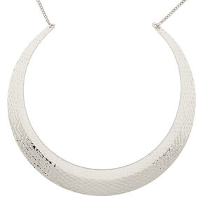 Silver Hammered Collar Choker Necklace,