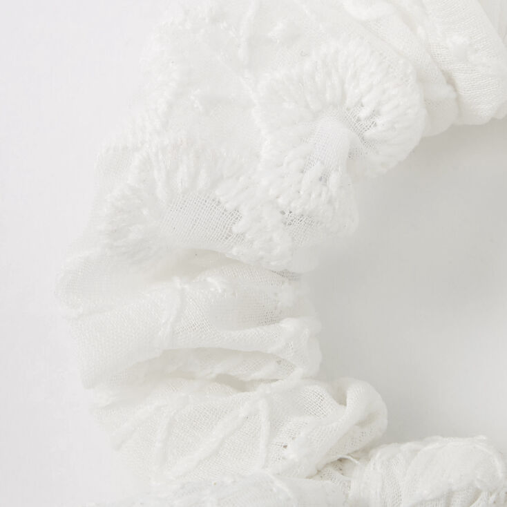 Small Crochet Knotted Bow Hair Scrunchie - White,