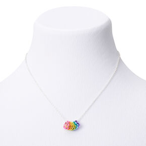 Silver Stacked Rainbow Heart Pendant Necklace,