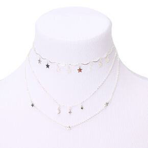 Silver Stars Multi Strand Necklace,