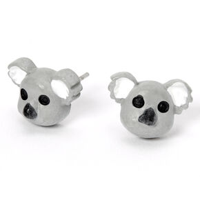 Silver Koala Stud Earrings - Grey,