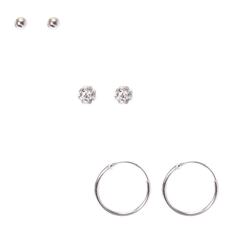 Sterling Silver Fireball Stud Earrings,