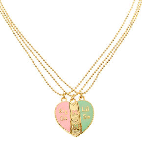 Mother & Sisters Heart Pendant Necklaces - 3 Pack,