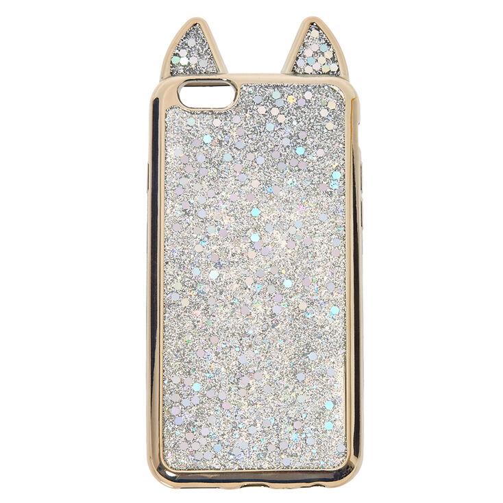 size 40 9c1dc eacb9 Metallic Silver Cat Phone Case - Fits iPhone 5/5S/SE