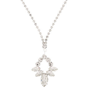 Silver Rhinestone Leaf Pendant Necklace,