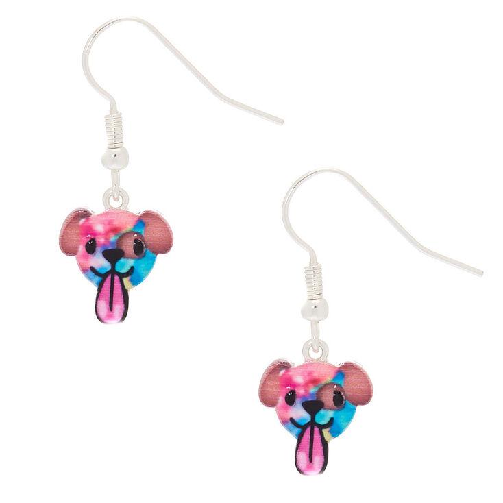 Tie Dye Puppy Emoji Drop Earrings