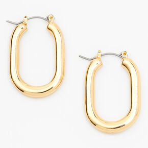 Gold 30MM Squared Oval Hoop Earrings,