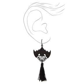 """Black 3"""" Glitter Bat Tassel Drop Earrings,"""