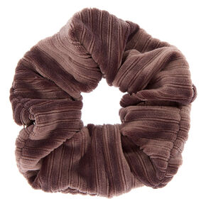 Medium Ribbed Velvet Hair Scrunchie - Dove Gray,
