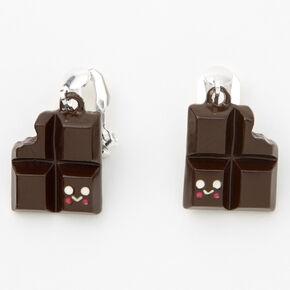 Pendantes à clip chocolat 1,5cm couleur argentée - Marron,