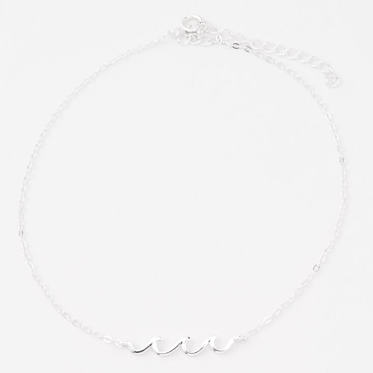 Sterling Silver Ocean Waves Chain Anklet,