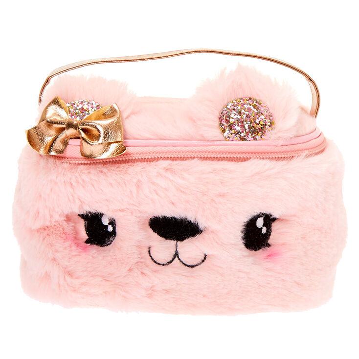 Claire's Club Plush Bear Makeup Bag - Pink,