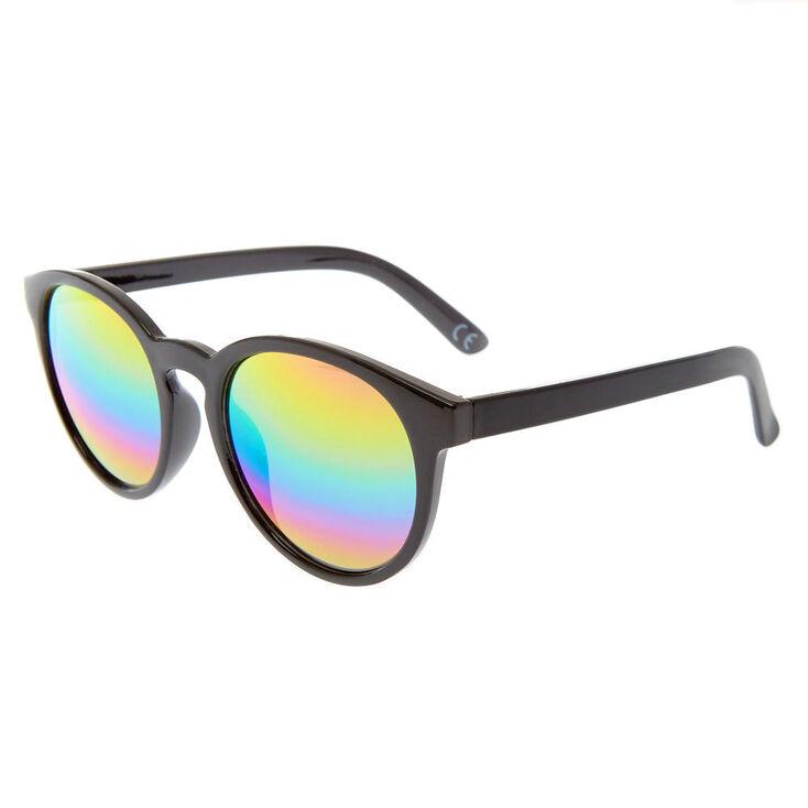Round Rainbow Mirrored Sunglasses - Black,