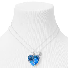 Best Friends Navy Glitter Split Heart Necklaces - 2 Pack,