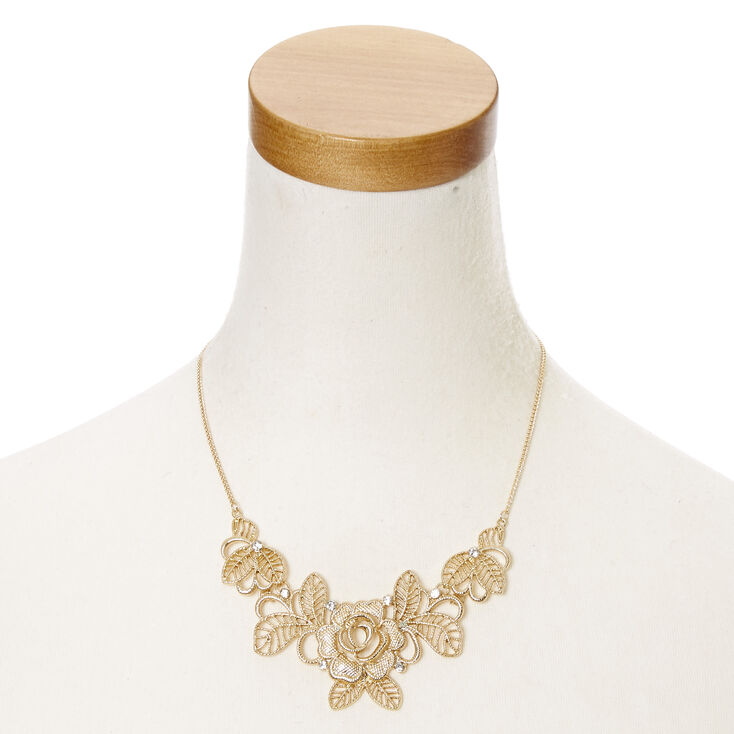 Gold-Tone Floral Statement Necklace,