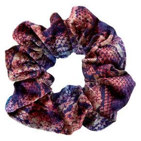 Medium Blue & Purple Velvet Snakeskin Hair Scrunchie,