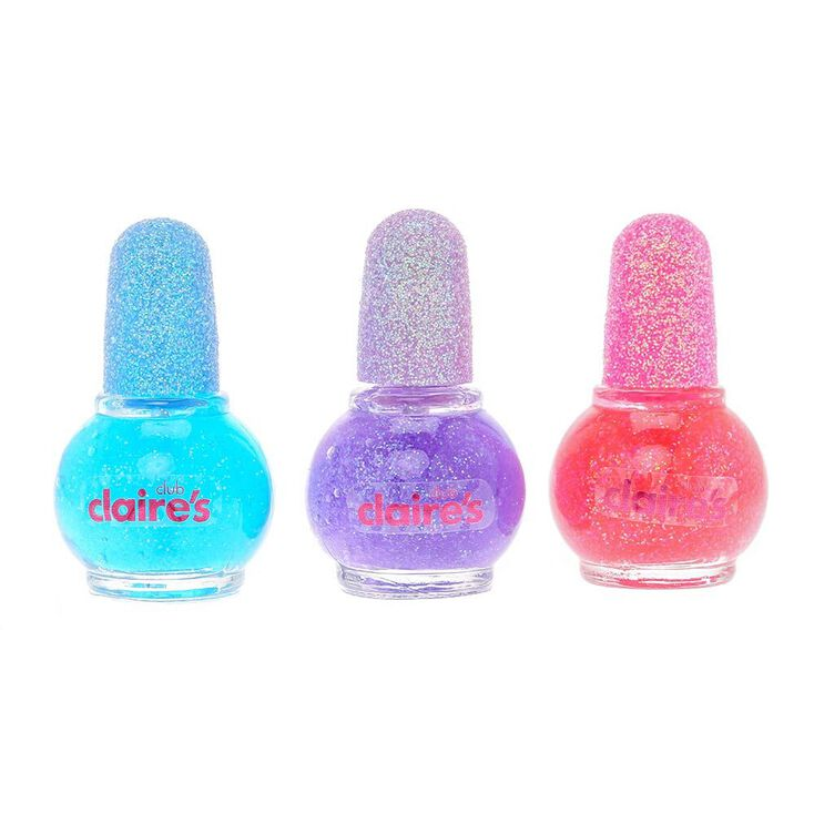 Claire's Club Mini Glitter Nail Polish Set - 3 Pack,