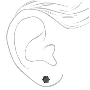 Black Cubic Zirconia 7MM Round Stud Earrings,