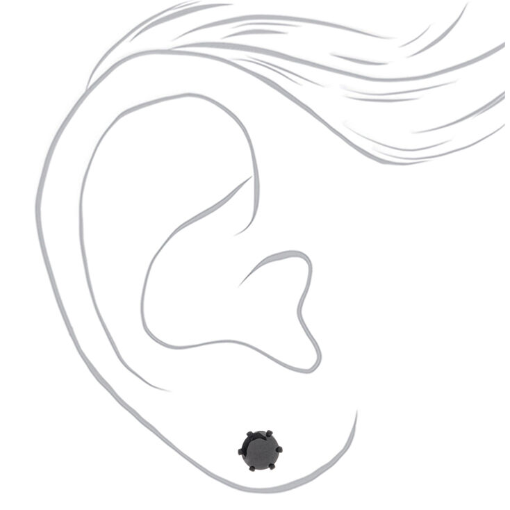 Black Cubic Zirconia 7MM Round Stud Earrings,
