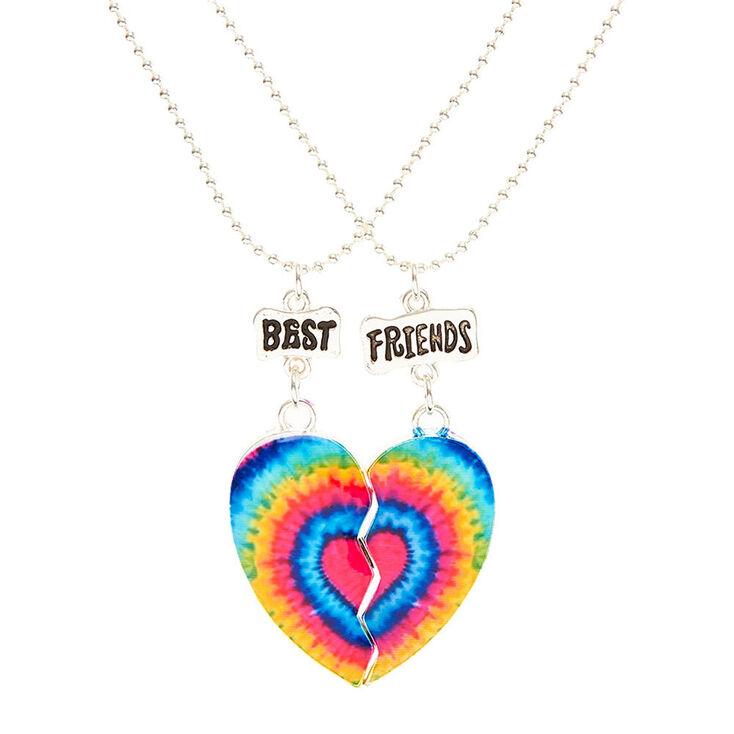 7e673a8c50 Rainbow Tie Dye Heart Best Friend Necklaces   Claire's US