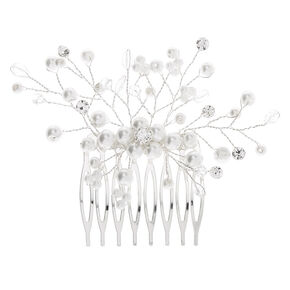 Silver Pearl Cherry Blossom Hair Comb,